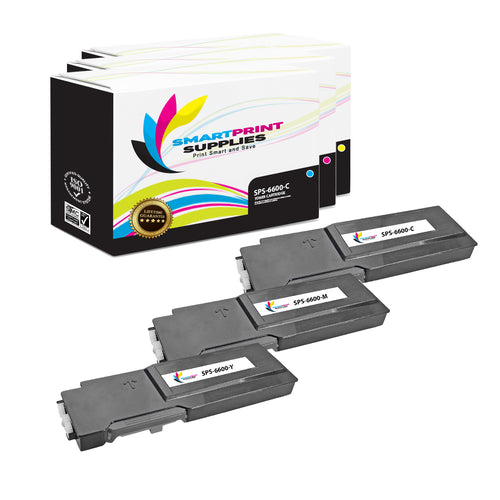 3 Pack Xerox Phaser 6600 3 Colors Toner Cartridge Replacement By Smart Print Supplies