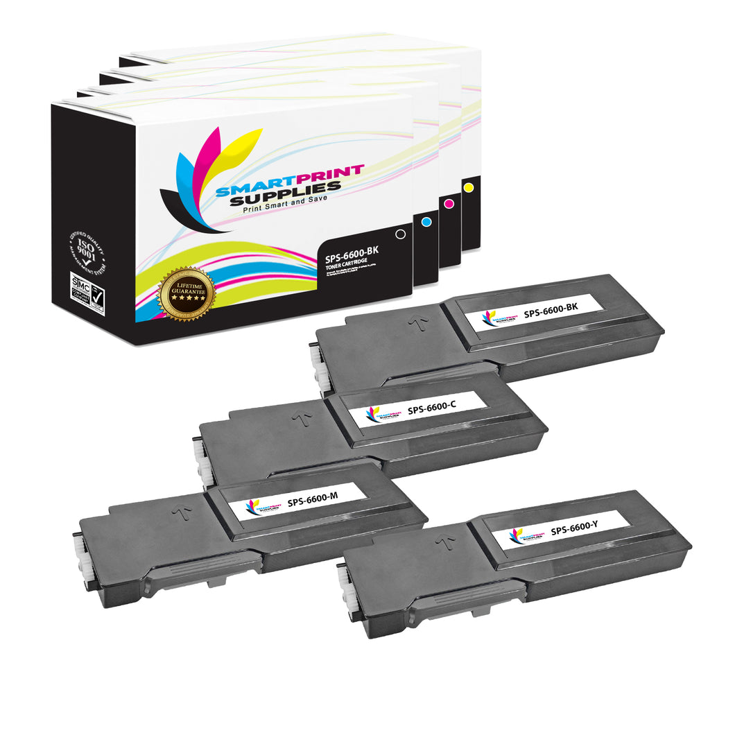 4 Pack Compatible Xerox Phaser 6600 4 Colors Toner Cartridge Replacement By Smart Print Supplies