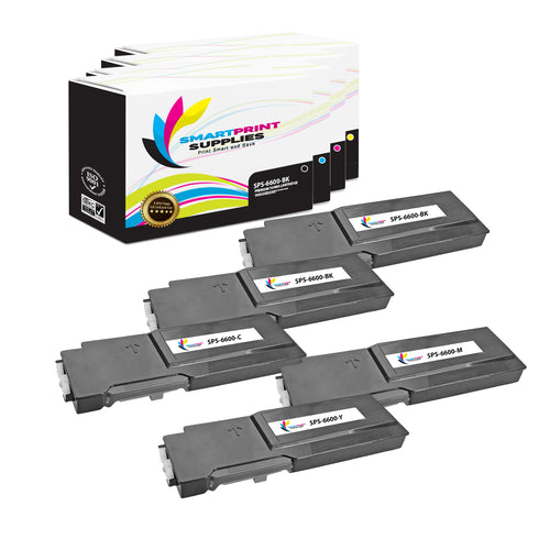 5 Pack Xerox Phaser 6600 4 Colors Toner Cartridge Replacement By Smart Print Supplies