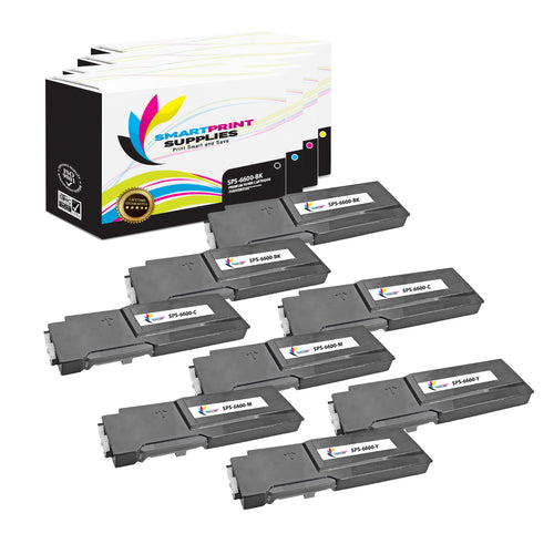 8 Pack Xerox Phaser 6600 4 Colors Toner Cartridge Replacement By Smart Print Supplies