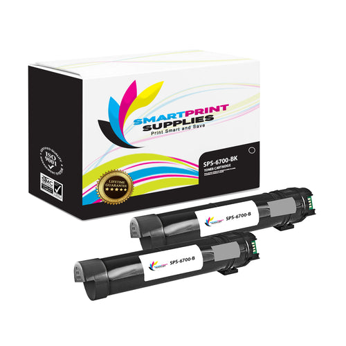 2 Pack Xerox Phaser 6700 Black Toner Cartridge Replacement By Smart Print Supplies