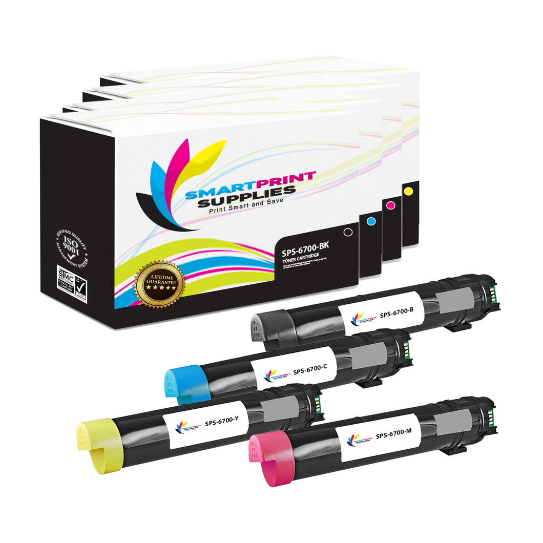4 Pack Xerox Phaser 6700 4 Colors Toner Cartridge Replacement By Smart Print Supplies
