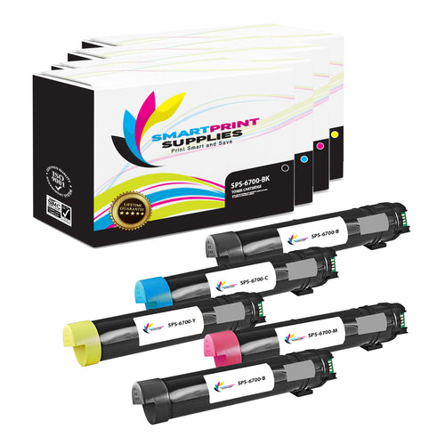 5 Pack Xerox Phaser 6700 4 Colors Toner Cartridge Replacement By Smart Print Supplies
