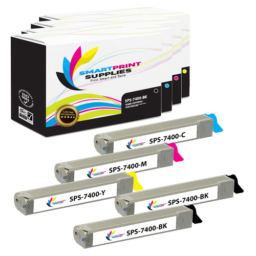 5 Pack Xerox Phaser 7400 4 Colors Toner Cartridge Replacement By Smart Print Supplies