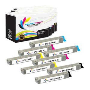 8 Pack Compatible Xerox Phaser 7400 4 Colors Toner Cartridge Replacement By Smart Print Supplies