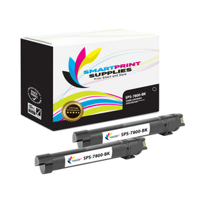 2 Pack Compatible Xerox Phaser 7800 Black Toner Cartridge Replacement By Smart Print Supplies
