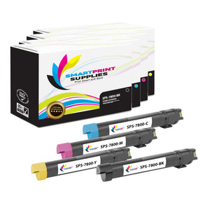 4 Pack Xerox Phaser 7800 4 Colors Toner Cartridge Replacement By Smart Print Supplies