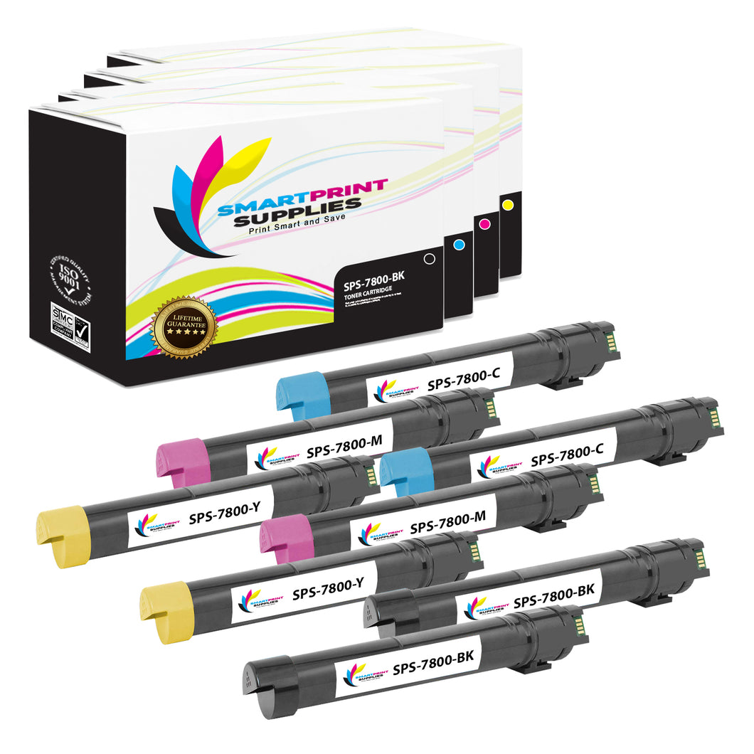 8 Pack Xerox Phaser 7800 4 Colors Toner Cartridge Replacement By Smart Print Supplies