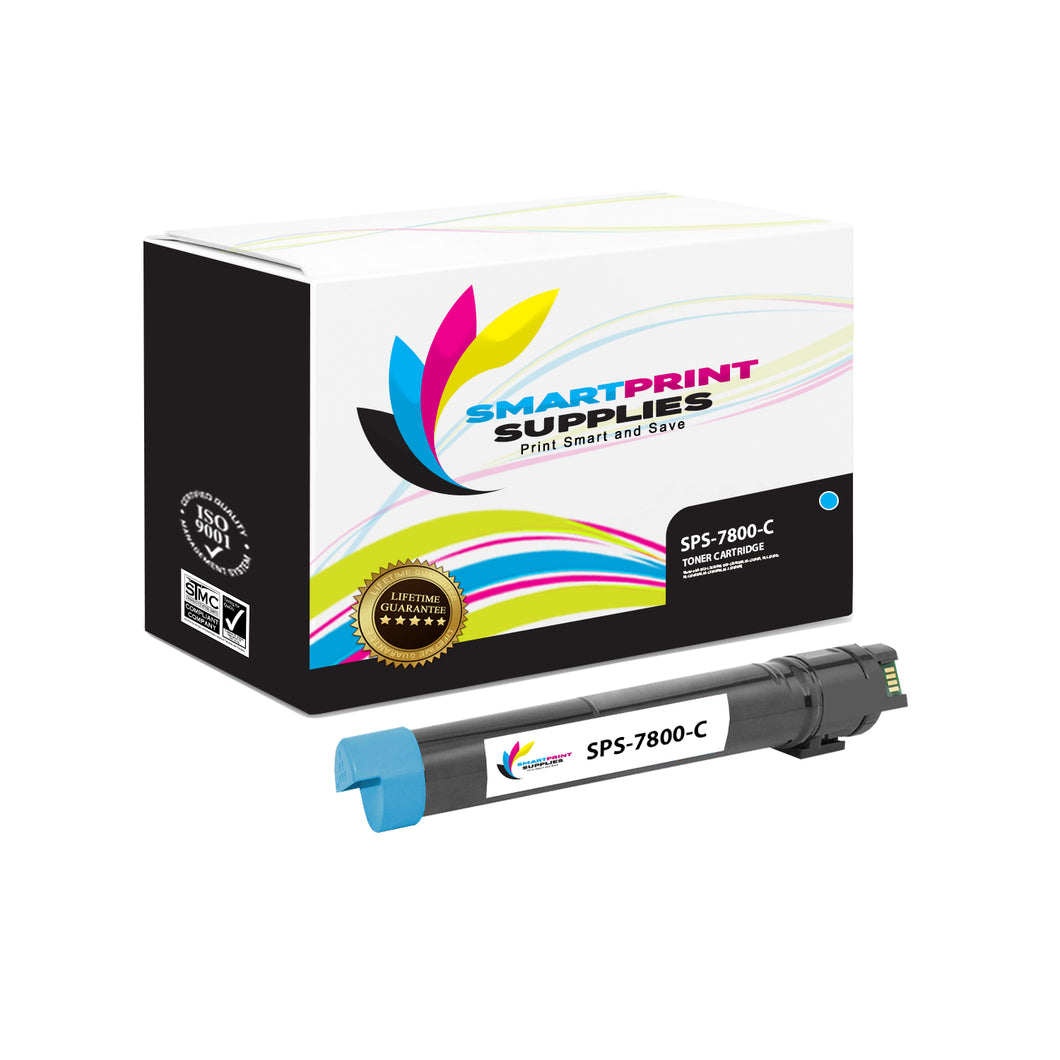 1 Pack Compatible Xerox Phaser 7800 Cyan Toner Cartridge Replacement By Smart Print Supplies