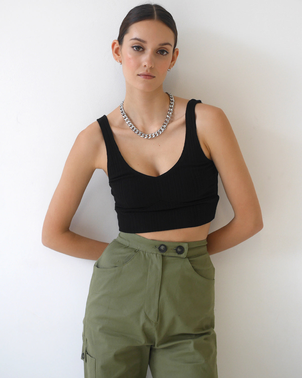 Wave Rib Band Crop Top