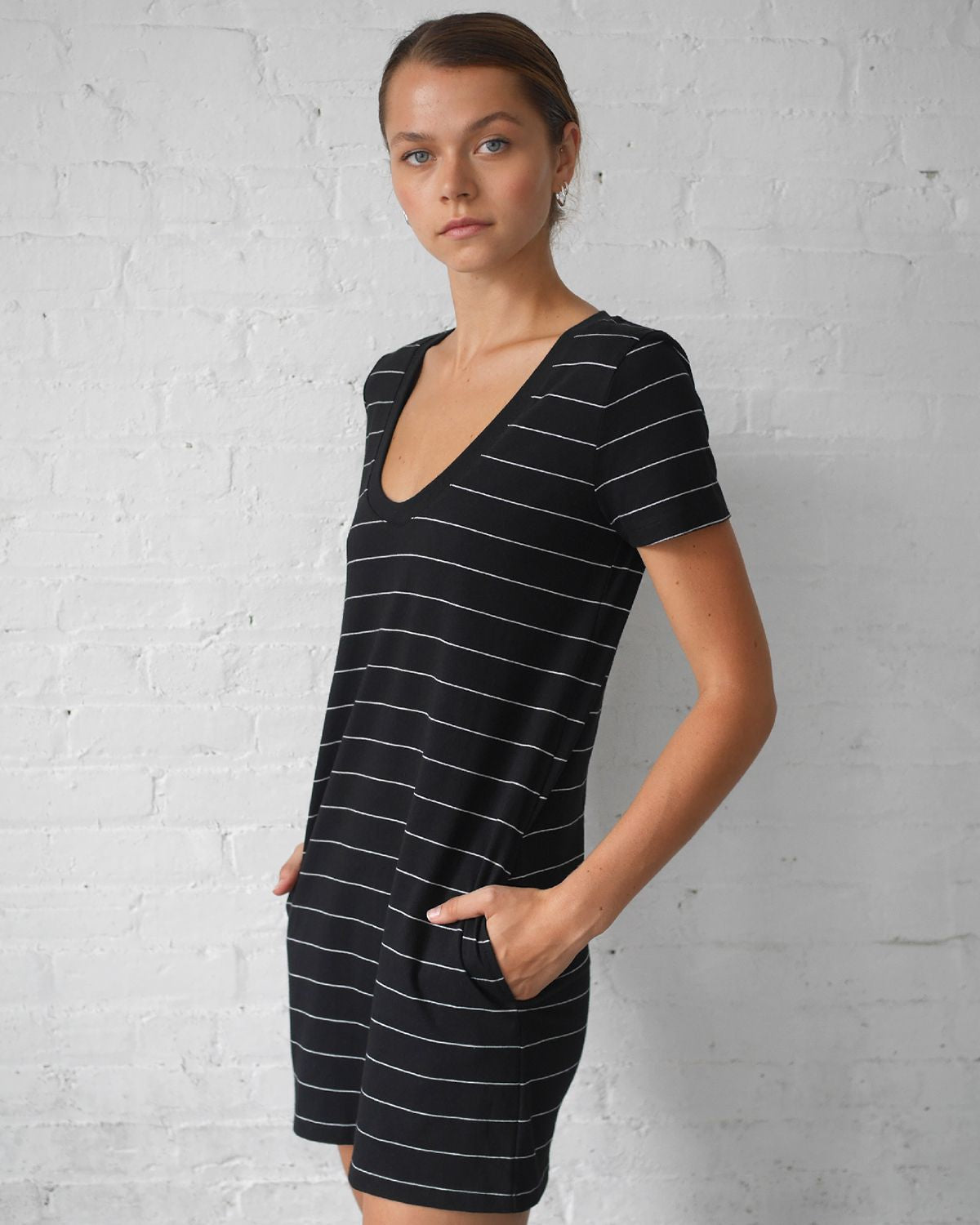 Substance Stripe Scoop Mini Dress