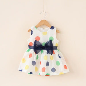 Rainbow polka dot dress