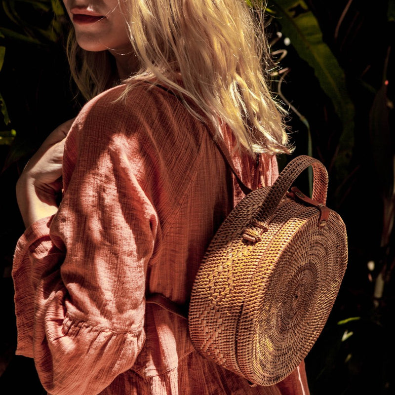 Harlow Ata Grass Mini Backpack. Rattan Bag, Boho Backpack Bag. Splendour In The Grass? Coachella? Burning Man? EDC