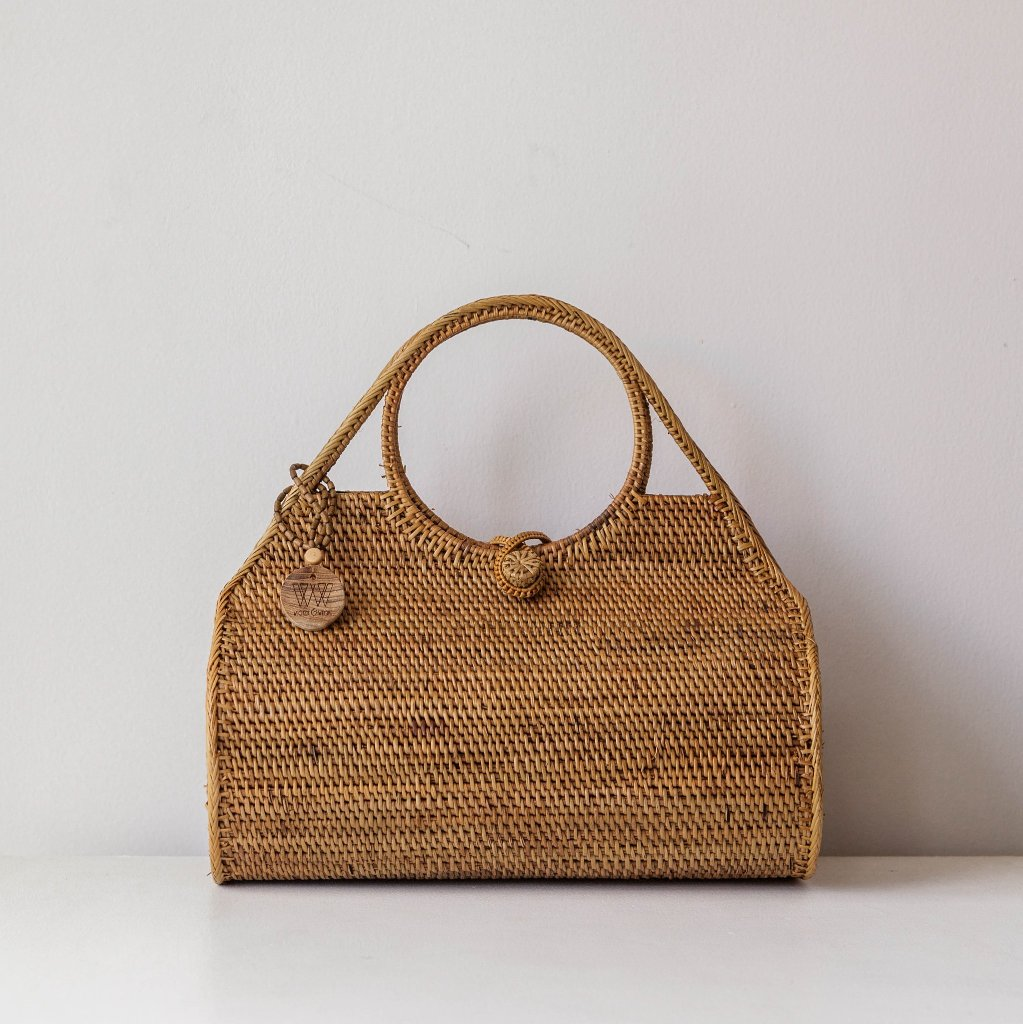 Ocean Ata Grass Bag. Handwoven bohemian style bag. Coachella bags and purses. By Wicker & Weave