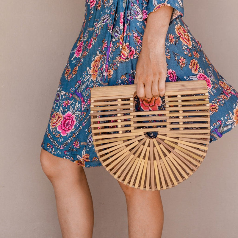 Dahlia Bamboo Bag, Women's Boho Bag, Evening Bag By. Wicker & Weave