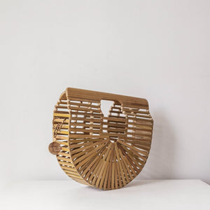 Dahlia Bamboo Bag, Women's Bohemain Clutch, Beach Bag. By Wicker & Weave
