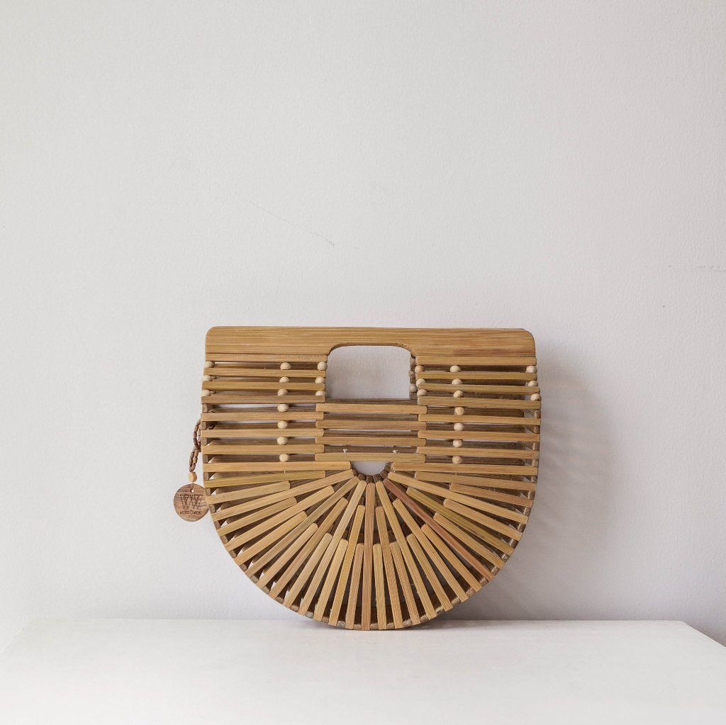 Dahlia Bamboo Bag, Women's Boho Clutch Purse, Beach Bag. By Wicker & Weave