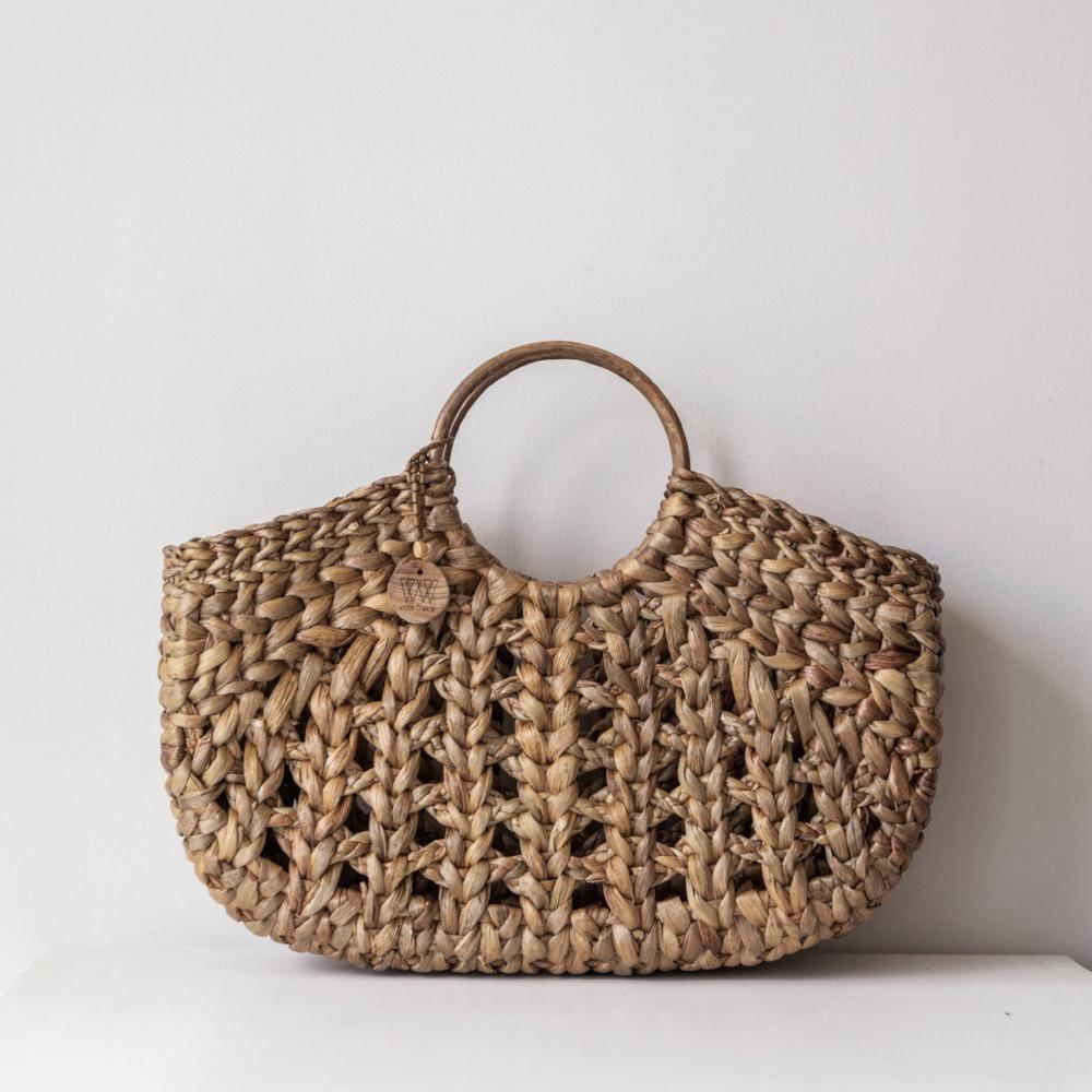 Aroha boho bag, tote basket bag. Market bag, beach bag. By Wicker & Weave