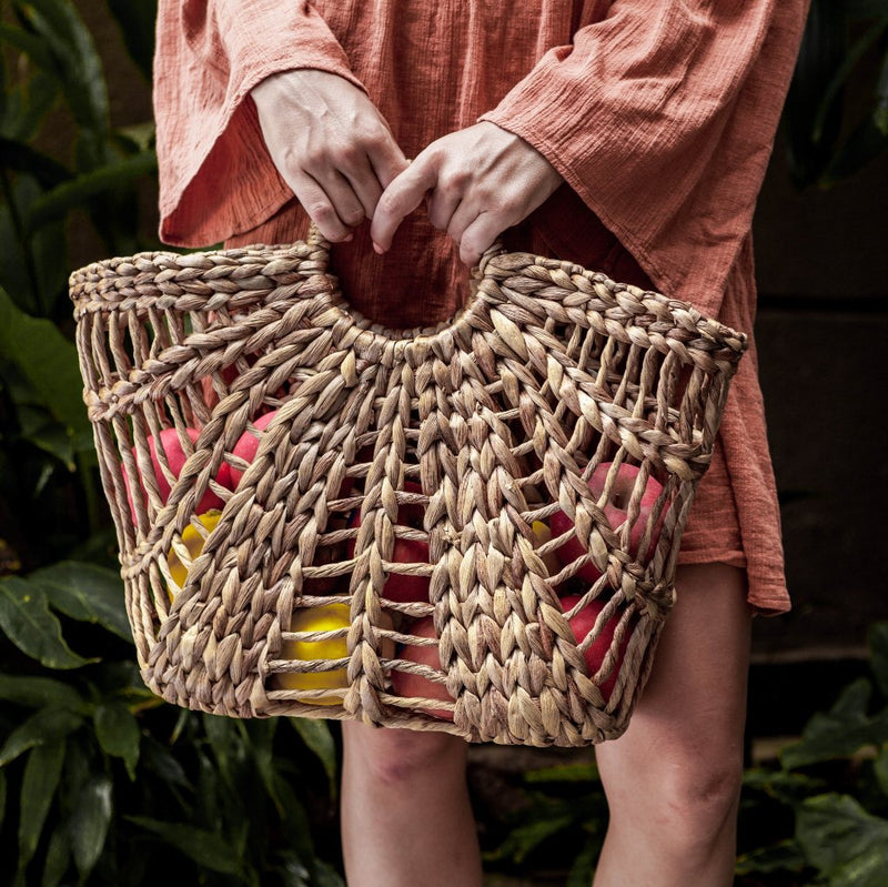 Maya basket bag. Tote boho bag, Handwoven straw bag. Market bag & beach bag. By Wicker & Weave
