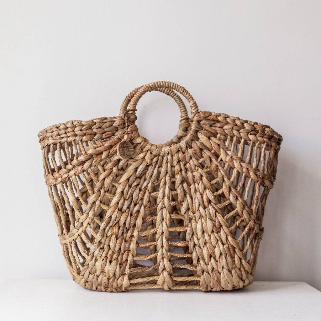 Maya basket bag. Straw tote boho bag. Handwoven straw bag. Perfect market bag & beach bag. By Wicker & Weave