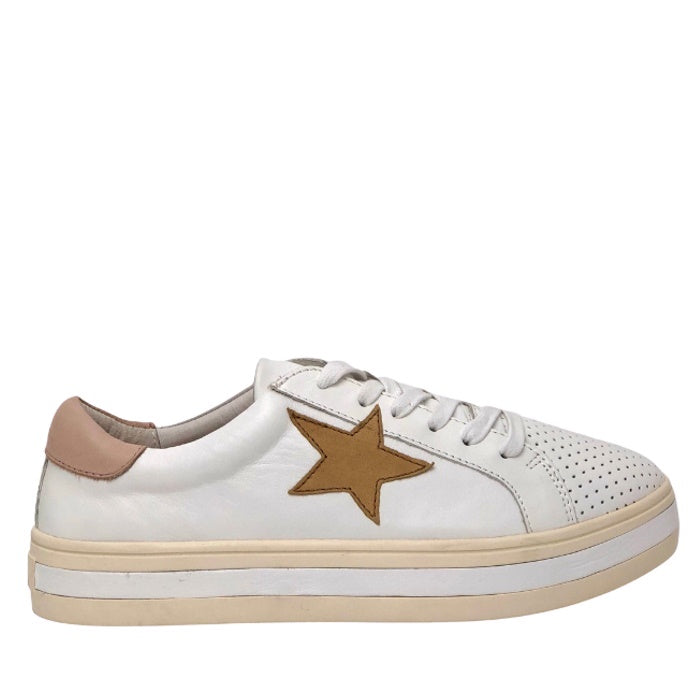 Alfie & Evie Pixie Leather Platform Casual Kicks White Camel