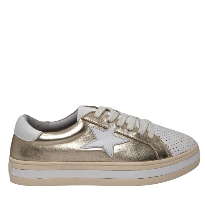 Alfie & Evie Pixie Leather Gold White Star Platform Sneaker