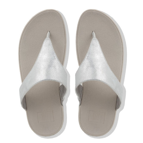 FitFlop Lulu  Toe Thong Sandals Jandals Silver Shimmer