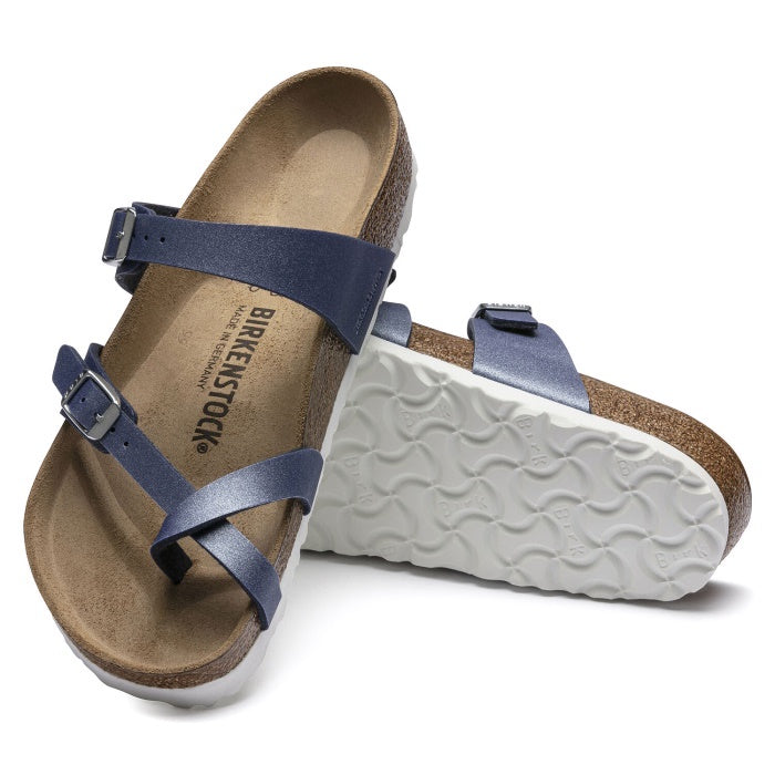 Birkenstock Mayari Womens Birko Flor Icy Metallic Azure Blue Regular
