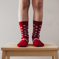 Lamington Merino Socks Frosty Red Christmas Crew Socks Youths
