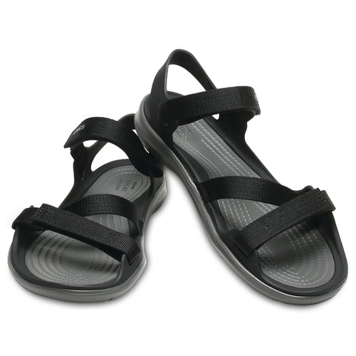 4259449657d71 Crocs Womens Swiftwater Webbing Sandal All Black womens 7, 8, 9