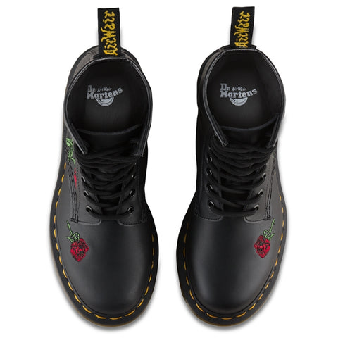 Dr Martens -Vonda Red Roses Black 8 EYE  Boot  Womens