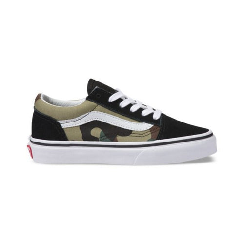 c9c36fdfac Vans - Old Skool Youths Black Green Woodlands Camo Lace Up – Foot ...