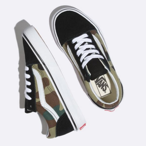 Vans Old Skool Youths Black Green Woodlands Camo Lace Up Foot