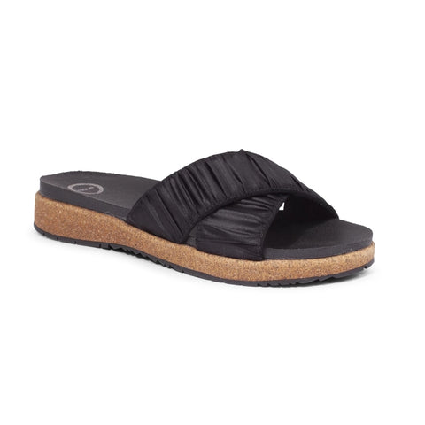Woden Liva Black Scuff Cross Over Slide