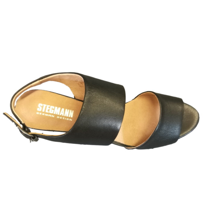 Stegmann Otis Black Leather Low Heel Sandal