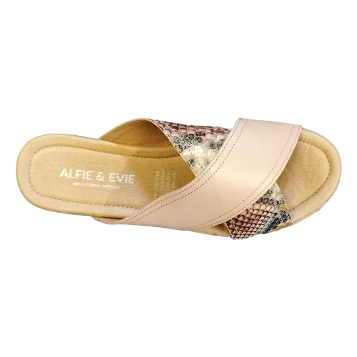 Alfie & Evie During Leather Sandale Blush Pink Python