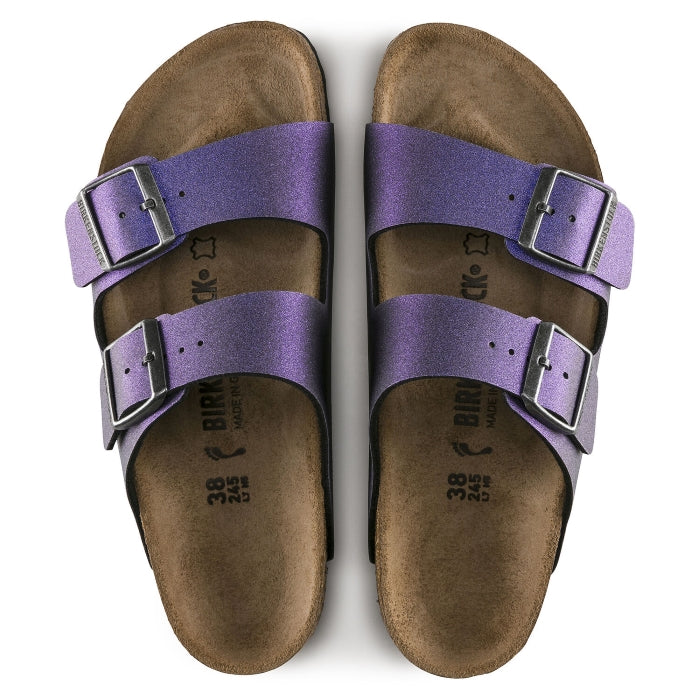 Birkenstock Arizona Birko Flor Icy Metallic Violet Regular Width