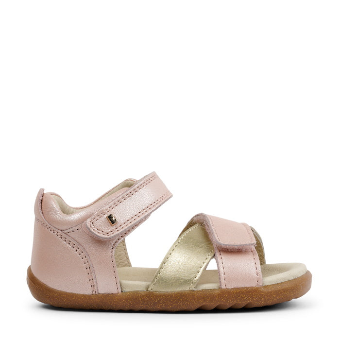 Bobux SU Step Up Sail Leather Sandal 728714 Seashell Pink + Gold