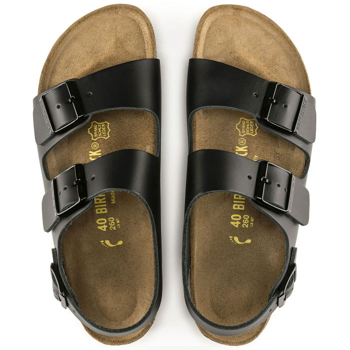 Birkenstock Milano Smooth Leather Black Narrow Width