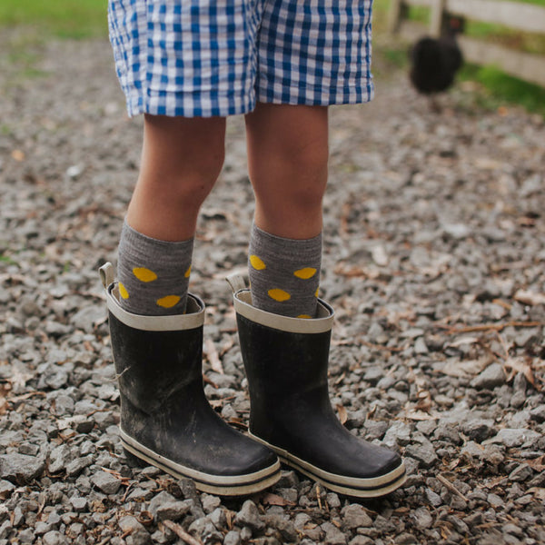 Lamington Coast Grey Yellow Merino Socks ages to 8 years