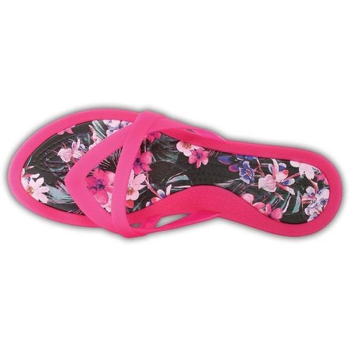 60bad35a1380 Crocs - Isabella Print Wedge Flip Sandal Candy Pink - Free SHIPPING