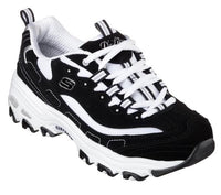 Skechers - D'Lites Biggest Fan -  Black/White wms 5-11