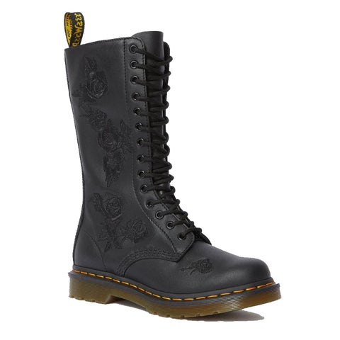 Dr Martens -Vonda  1914 Black Flowers 14 eye  Boot  Womens