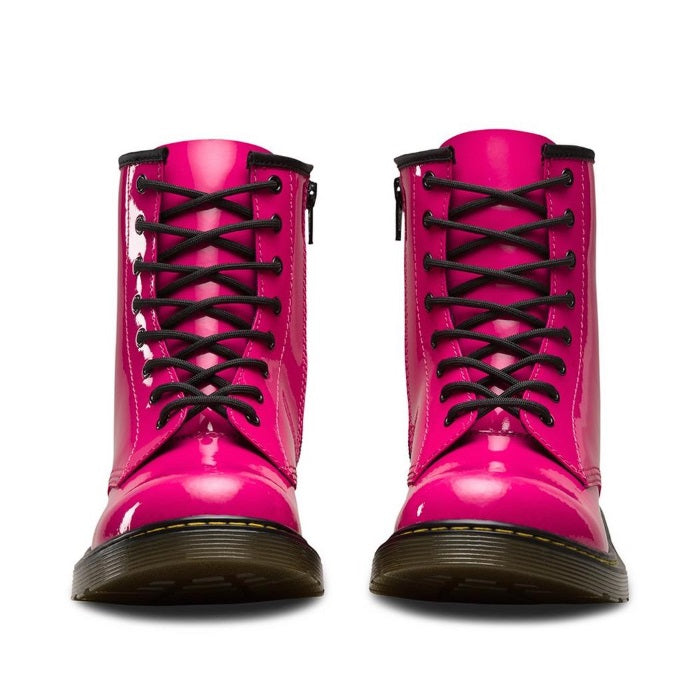 Dr Martens Youths kids - 1460 Pink Patent - lace up boot with zip  uk 4-5.5
