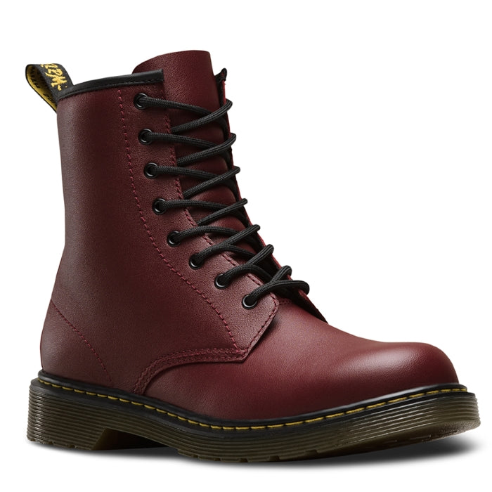 Dr Martens Youths kids - 1460 Cherry Red - lace up boot with zip uk 4-5.5 cherry