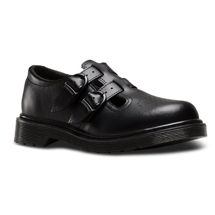 Dr Martens kids - 8065 Double Strap T Bar Youths Black School Shoe   uk4 - 5.5 Buckle
