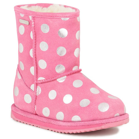 EMU - Girls WATERPROOF - Spotty Brumby   - Pink Bubblegum Wool Boot