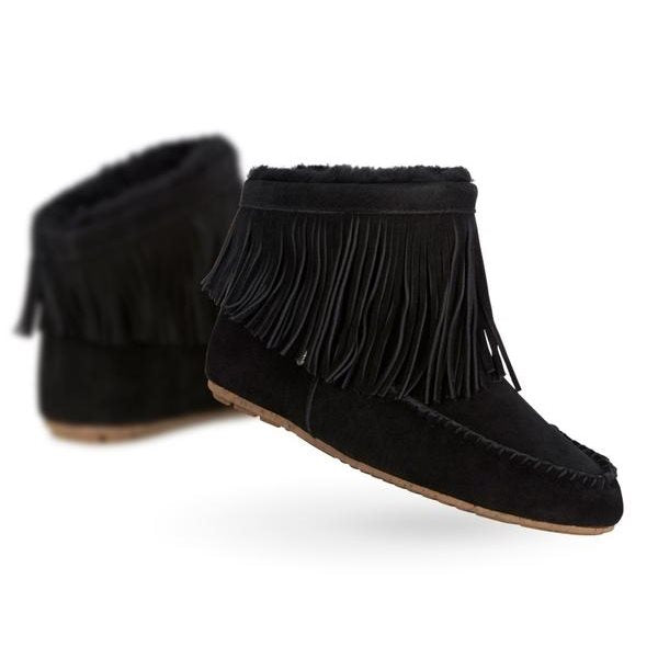 Emu - Women's Cayote Sheepskin Black  Fringe Boot-