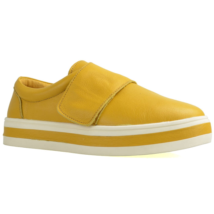 Alfie & Evie Precious Leather Casual Shoe Flats Mustard