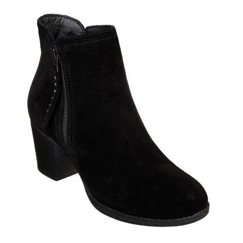 Womens Skechers - Taxi Don't Trip Black Suede Ankle Boot